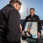 Multi 50 Arkema-Region Aquitaine / Lalou Roucayrol - Mayeul Riffet portrait in a mirror prior to the Transat Jacques Vabre start in Le Havre (North France)