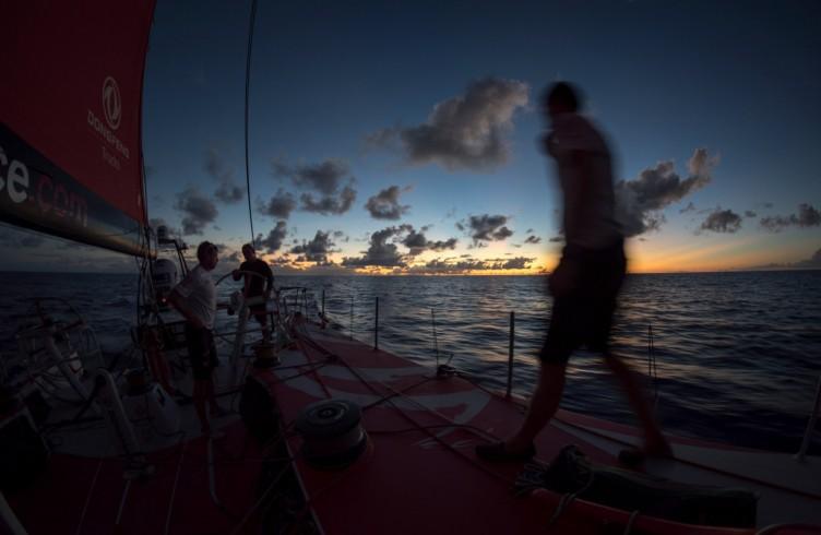2014-15, Dongfeng Race Team, Leg6, OBR, VOR, Volvo Ocean Race, onboard, sunset, silhouette