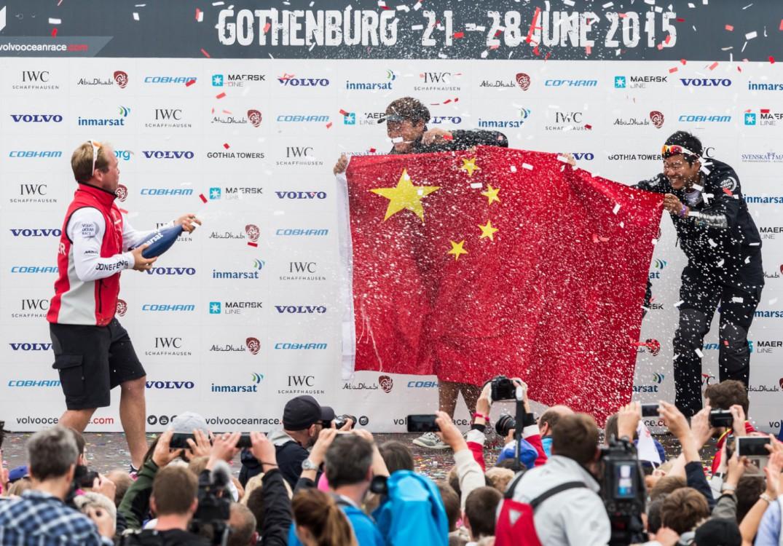 2014-15, VOR, Volvo Ocean Race, Prize giving, Gothenburg, stage, Inport, crowds, Dongfeng Race Team