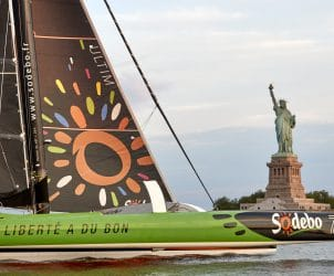 06-2017, NEW YORK CITY, USA, THE BRIDGE, ARRIVAL FINISH, ARRIVEE, MULTIHULL, MULTICOQUE, ULTIM, THOMAS COVILLE, SODEBO ULTIM