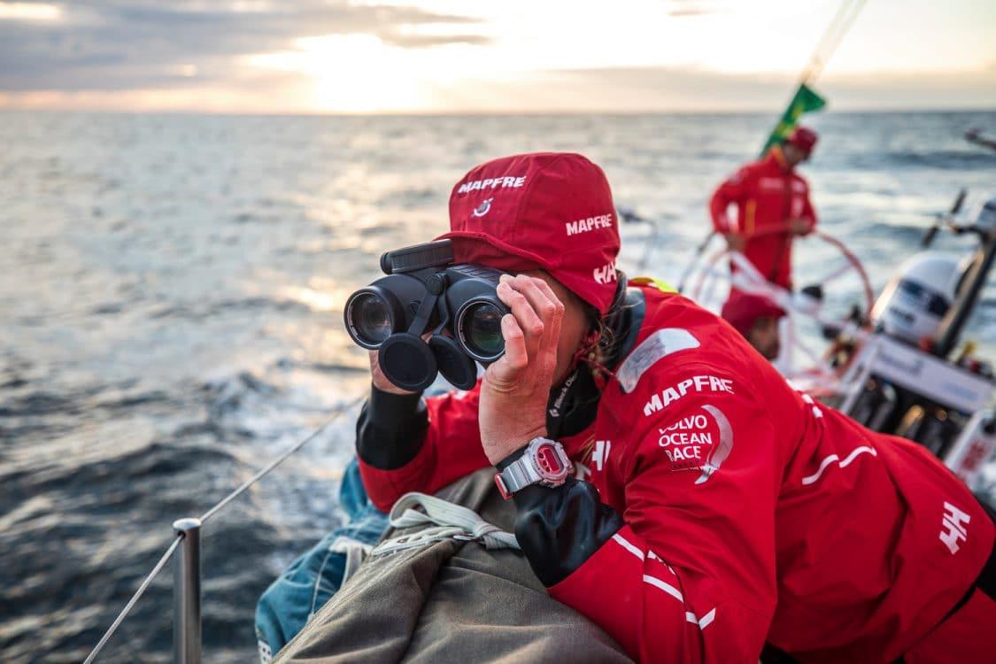 2017-18, Detail, Leg Zero, MAPFRE, On board, On-board, Pre-race, Rolex Fastnet Race, Sophie Ciszek, binoculars