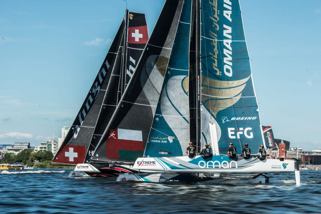 Alinghi, Cardiff, Day4, ESS, Extreme Sailing Series, GC32, Oman Air, Vincent Curutchet