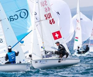 470 M, CLASSES, Olympic Sailing, SUI 46 36 Kilian Wagen (M) Gregoire Siegwart 470 Men, Sailing Energy, World Cup Series Hyeres, World Sailing